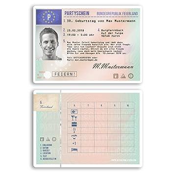 Einladungskarten Geburtstag (80 Stück) Als Führerschein Fahrerlaubnis Pass  Ausweis Geburtstagskarten Geburtstagseinladungen Karte Einladungen  Gestalten ...