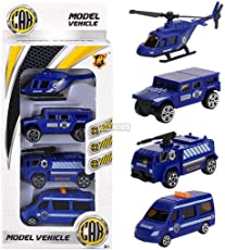 Murieo 4 Stücke Kinder Auto Spielzeug,Mini Baufahrzeuge Spielzeugautos ,Hand Schiebe Spielzeug Autos Kinder Spielzeug, Box Größe: 23,5 x 11 x 4 cm (Blau)
