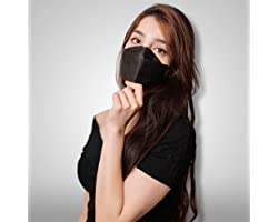 (10 Pcs) Black Face Mask, Made In Korea Individually Packed 4 Layer Protection 3D Structure