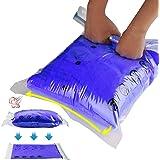 Amazon Brand - Eono sacche di Compressione arrotolabili, 12 Pezzi 6 per Bagagli a Mano e 6 per valigie