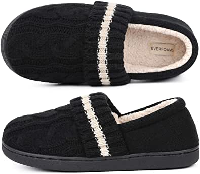 EverFoams Ladies' Soft Cable Knitted Memory Foam Full Back Slippers