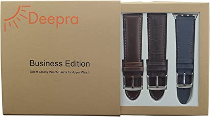 Apple Watch Band for iWatch 42 mm Series 3 & 1 - Row, Set of 4 Pack Leather Watch Straps (Deepra Business Edition)