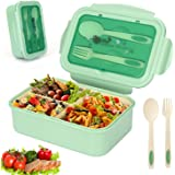 Sinwind Lunch Box, Bento Box, Boite Bento, Boîte Bento1400 ML avec 3 Compartiments et Couverts (Green)
