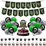 32 Piezas Yoda Decoración Cumpleaños - Miotlsy Suministros Fiesta Star Wars, Suministros para Fiesta cumpleaños Baby Yoda, De