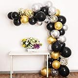 100Pcs Balloon Arch Kit, Black Gold Silver Balloon Garland Backdrop Including Black, Chrome Gold Silver Confetti…