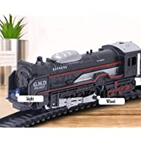 Happy Child Battery Operated Black Train Toy Set for Kids, Big Size Train Set for Kids | Bump and Go Musical Toy Train