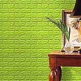 Green : Mingfa PE Foam 3D Brick Wallpaper, Brick Stone Pattern Wall Stickers, Soundproofing Wallpaper For Living Room Bedroom (Green)