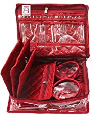 atorakushon® Satin Maroon Multipurpose Make Up Pouch Jewellery Cosmetic Organizer Necklace Pouches Traveling Kit for Women's