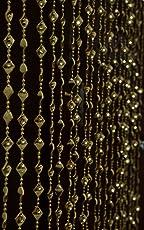 Pindia Fancy Kite Sparkling Plastic Strings Bead Hanging Curtain - 7ft, Golden