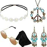 Hicarer Ensemble de Costume Hippie Comprenant des Iunettes de Soleil, Un Bandeau, Un Collier de Signe de la Paix et des Boucl