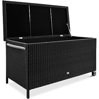 Deuba Auflagenbox Poly Rattan Rostfreies Aluminiumgestell Rollbar