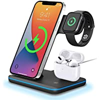 FDGAO Wireless Charger, 15W QI Schnell Induktive ladestation 3 in 1 Kabelloses Ladegerät für Apple Watch Serie 6/SE/5/4…