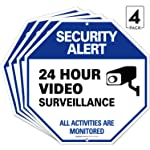 Video Surveillance Sign, 12x12 Octagon Rust Free Aluminum, UV Protected, Long Lasting Weather/Fade Resistant, Easy...