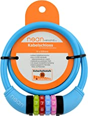 nean Kinder-Fahrrad-Kabel-Schloss, Zahlen-Code-Kombination-Schloss, bunt, 10 x 650 mm
