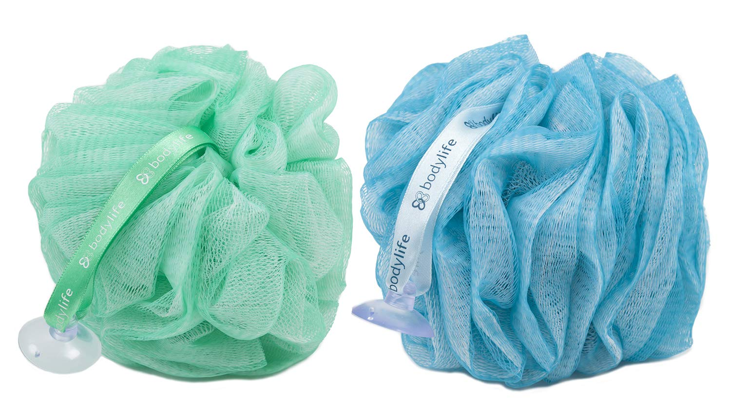 Bodylife Exfoliating Bath & Shower Body Puff/Scrunchie/Buffer Kingfisher Blue & Green 55g Twin Pack