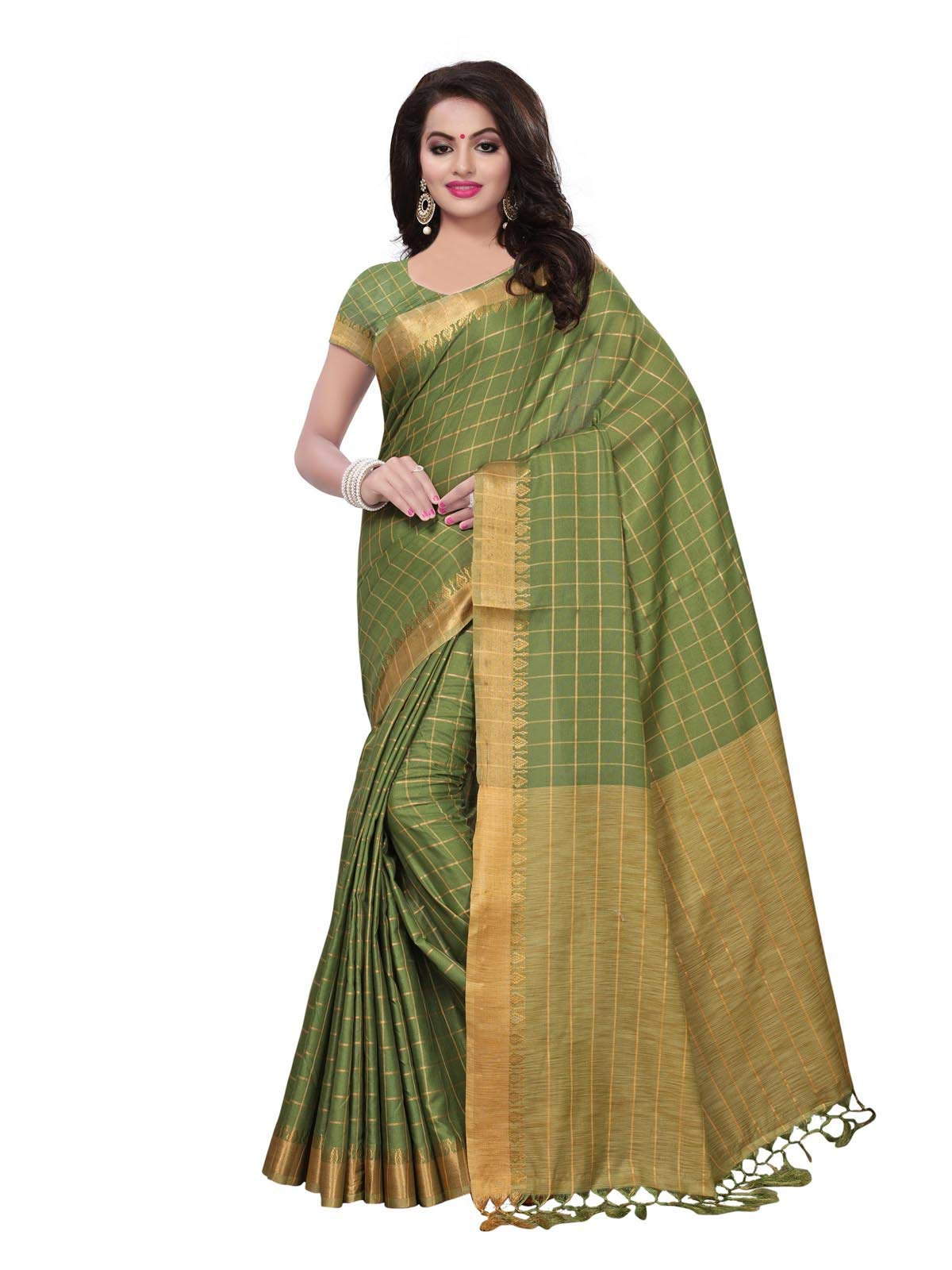 Kanchnar Women's Poly Linen Checks Printed Saree with Blouse