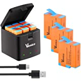 Vemico Hero 9 Caricabatterie 3x1800mAh Batterie Sostitutive con Caricatore USB di Tipo-C a LED a 3 Canali per GoPro Hero 9 Bl