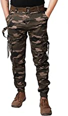 SmartLifestyle Army Men's Cotton Cargo Pants Camouflage Camo Military Long Trousers with Belt