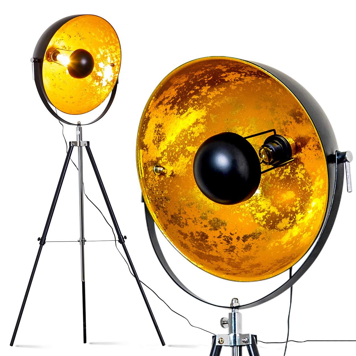 lampe sur pied projecteur saturn xxl lampadaire tr pied en m tal noir avec coupole dor e. Black Bedroom Furniture Sets. Home Design Ideas