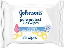 مناديل أطفال جونسون المبللة للأطفال، حماية نقية، عبوة من 25 منديل مبللة