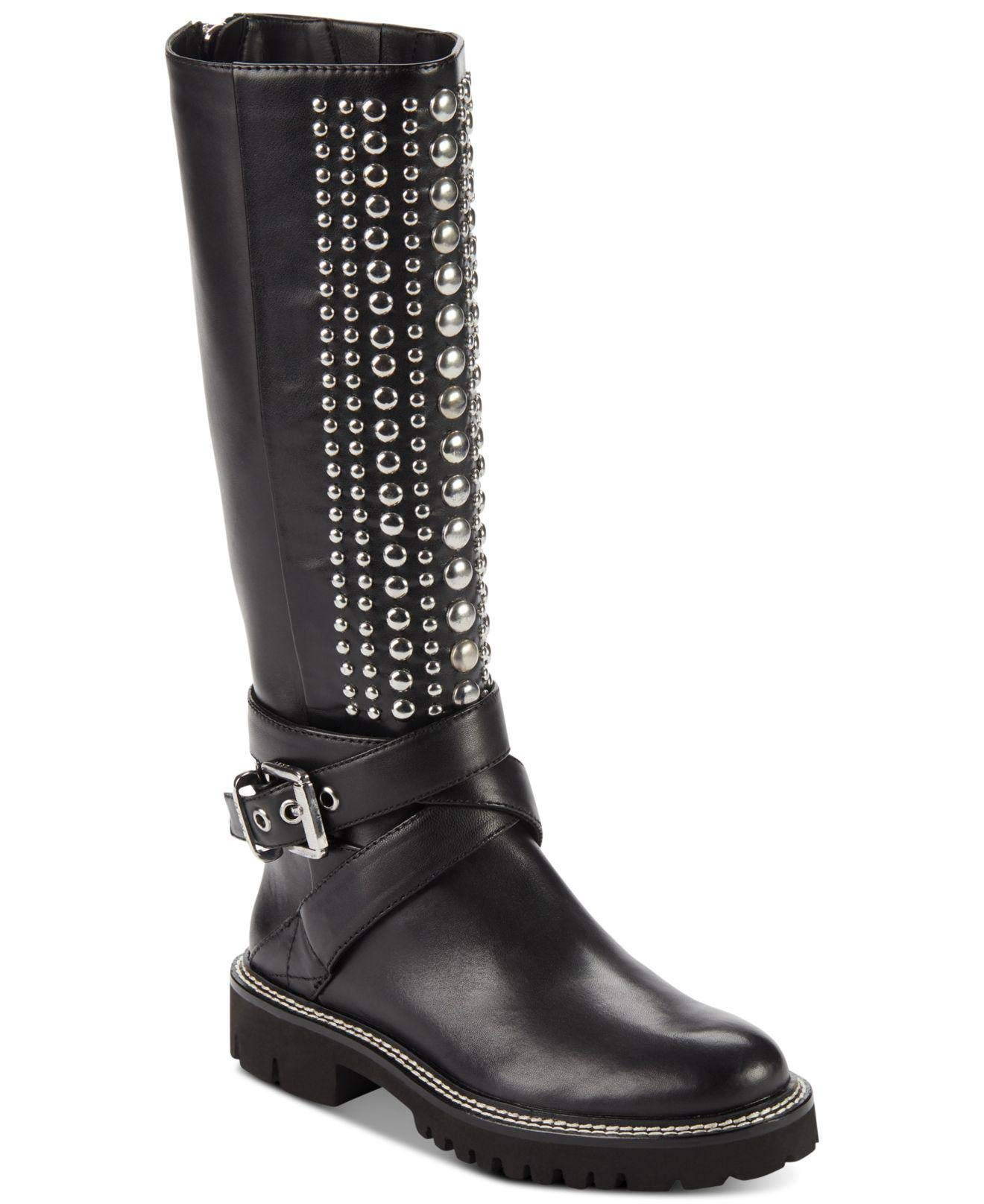 DKNY Womens Babz Leather Round Toe Knee High Riding Boots, Black, Size 6.5 US/US
