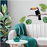 Les Trésors De Lily [Q6537 - Planche de Stickers 'Jungle Tropical' Vert (Toucan, Monstera) - 50x70 cm