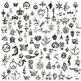 Juanya 100 unidades DIY accesorios mezclados de plata tibetana estilos colgantes del encanto de la joyería de bricolaje para