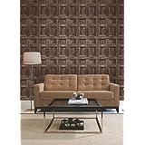 Brewster FD31055 Wood Panel Wallpaper-Chocolate