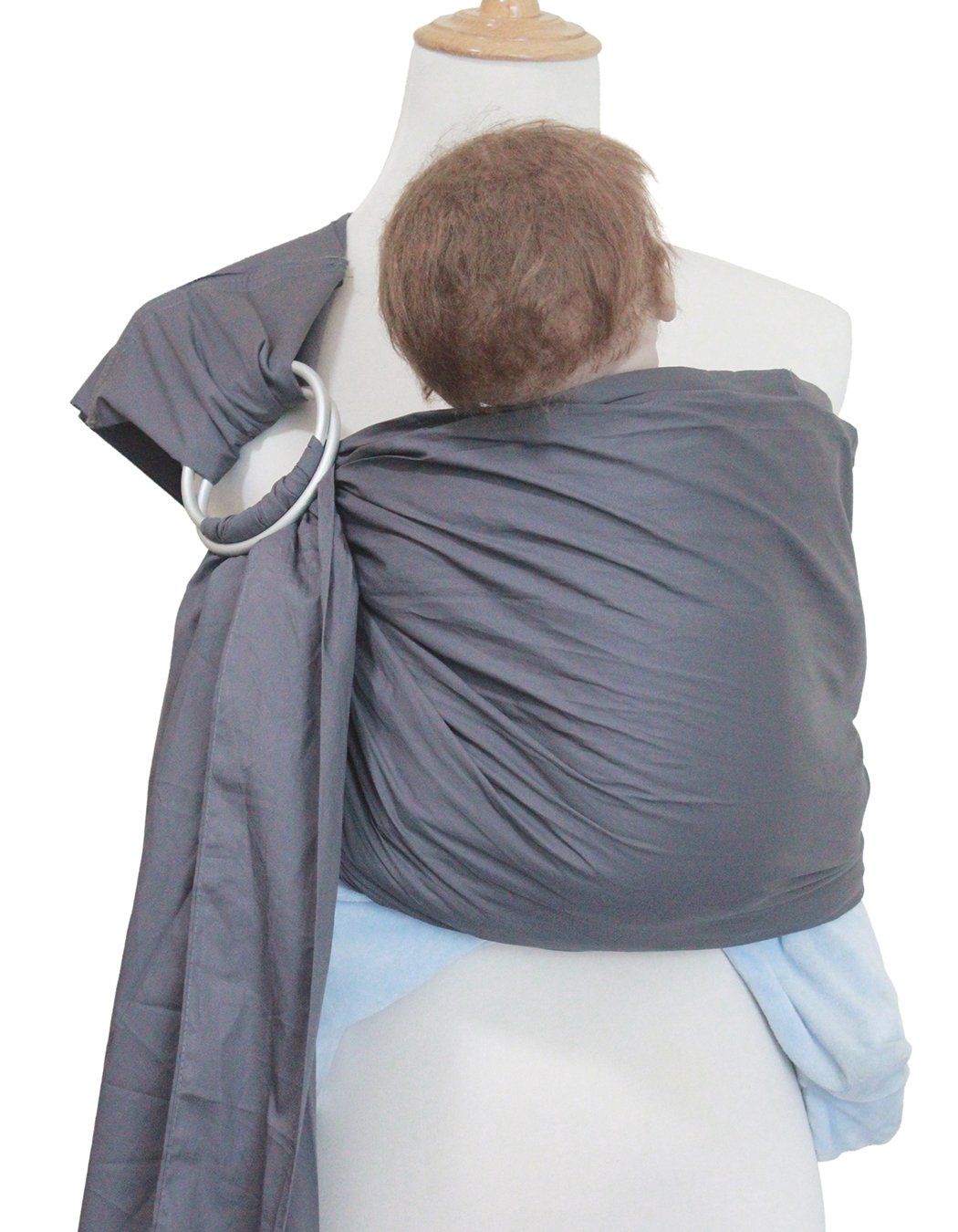"Vlokup(TM) Wrap Original 100% Cotton Adjustable Baby Carrier Infant Lightly Padded Ring Sling Grey Vlokup 100% natural cotton.Comfortable for newborns up to 18 pounds The baby ring sling makes a deep pocket that allows for a more comfortable fit for baby and a better ""grip"" on baby's legs. Most moms find it with the less slipping problem for squirmy babies. Lightly padded Shoulder portion distributes weight through the torso and avoids straining the neck. Lightly padded railings provide the right amount of cushioning for baby's tender thighs, with no sharp edge cutting into flesh. Vlokup sling carrier has no overheating problem for baby and mother which is perfect for hot weather. 6"