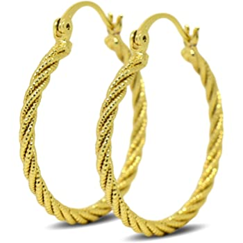 9ct Gold Filled Womens Textured Creole Hoop Earrings 9K 20mm Hoop