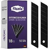 Filzada ® 50 x skärknivblad 18 mm – brytblad/knivblad kolstål – svart ultravass