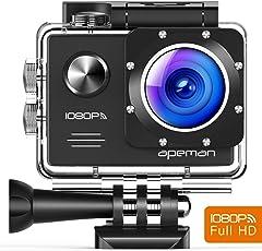 Apeman A70 Aktion und Sport Kamera mit 2 1050mAh Akkus und Accessoires (14 MP, 1080P FULL HD, WiFi, 30 m wasserdicht)