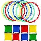 OOTSR Toss Game Sets, Inclusief 8 stks Nylon Bean Bags en 8 stks Gooien Ringen voor Kids Toss Game Speed en Agility Training