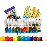 Acrylverfset, 12 Kleuren&10 kunstborstels, Niet giftige verf, Rijke Pigment met Levendige Kleuren voor Canvas, Hout, Glas, Pa
