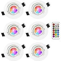 LED Spots Encastrables Orientable RGB Couleur Changement Lampe Blanc Chaud 2700K Plafonnier Encastré 5W Equivalente de…