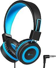 Kinder Kopfhörer - Kabel Kopfhörer für Kinder, verstellbares Stirnband, Stereo Sound, Faltbare, entwirrte Drähte, 3,5 mm Aux Jack, 94dB Volume Limited - Kinder Kopfhörer auf Ohr, blau