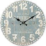Something Different Wholesale Blue Beach Clock (6/12), Wood, Multicolour, 34x34x0.4 cm