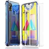 HTDELEC Coque Samsung Galaxy M31 Transparente + 2 × Verre trempé écran,Silicone Souple étui Bumper Housse Clair TPU Gel Cover avec Quatre Coins Renforcés pour Samsung Galaxy M31