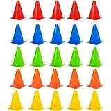 JDWG 25 Pack Soccer Training Cone Marker Cones Field Marker - Ideal for Soccer/Football, Basketball, Hockey, Speed Training a