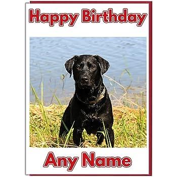 Personalised Birthday Card Swimming Black Labrador Dog Add A