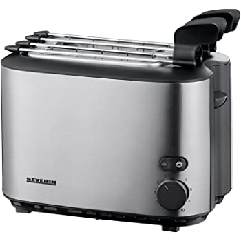 SEVERIN Grille-Pain Automatique, Pinces à Sandwich Incluses, 2 Fentes, 540 W, AT 2516, Inox/Noir