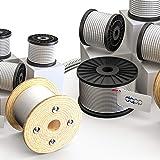 DQ-PP Staalkabel, 1 mm, 50 m, roestvrij staal, INOX 7 x 7 middelzacht, draadkabel voor klimhulp, roestvrije touw, staaldraad,