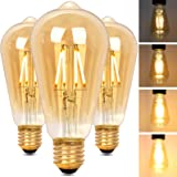 Alampia Edison Vintage Gloeilamp E27 ST64 Dimbare Ledlamp, 4 W, 2200 K, Warm Wit, Decoratieve Lamp, Retro Gloeilamp Verlichti