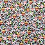 Multi Farbige Hot Air Luftballons auf Grau Print–100%