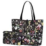 Lekesky Handtasche Damen Shopper Leder Groß Damen Tasche für Büro Schule Einkauf, Schwarz
