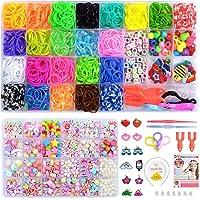 Evance Loom Bands Bracelets Elastiques +Bricolage Perles Set, Bracelet Bricolage Enfant Colliers Perles, Fabrication de…