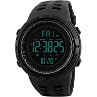 SKMEI Digital Dial Men's Watch with Water Resistant, Alarm, Stopwatch, LED Light, Dual Time -1251 Black