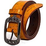 AmyKer Las mujeres Vintage Cuero Genuino Cinturones Con Hebilla En Relieve Cinturones Para Jeans Pantalones Vestidos Negro Ma