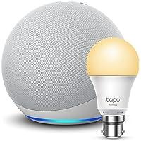 Echo (4th generation) | With premium sound | Glacier White + TP-Link Tapo Smart Bulb (B22), Works with Alexa