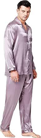 Mens Silk Satin Pajamas Set Sleepwear Loungewear S~4XL Plus_Gifts